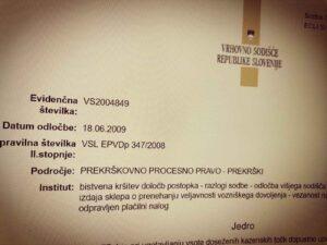 Ne izvedba ključnega dokaza - Sodba IV Ips 17 2009